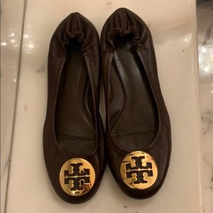 Tory Burch brown and gold leather flats